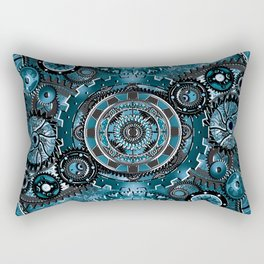 Blue Gear Wall Rectangular Pillow