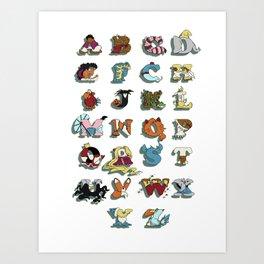 The Disney Alphabet - White Background Art Print