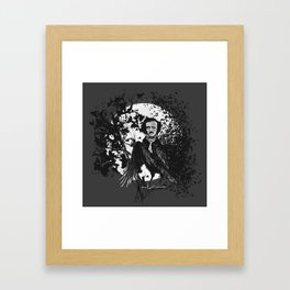 Unlikely Meeting in The Moonlight with Mr Edgar Allan Poe Framed Art Print