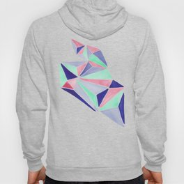 Watercolor colorful mint triangles. Watercolor geometry 3D effect. Hoody