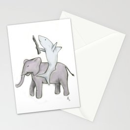 Shark with a Shotgun and the Elephant Stationery Cards
