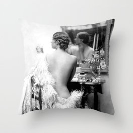 Ziegfeld Girl at her Dressing Table back stage, Paris black and white photograph Throw Pillow