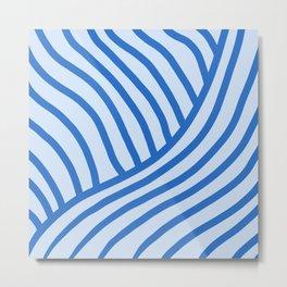 Royal Wave Stripe Blue Metal Print