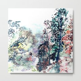 """Hand painted watercolor art """"Walking on the forest"""" Metal Print"""