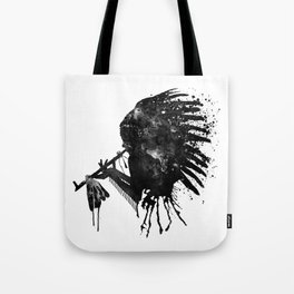 Indian with Headdress Black and White Silhouette Tote Bag
