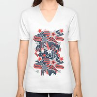 patriotic V-neck T-shirts featuring Patriotic Pattern by Aron Gelineau