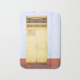 92. Yellow Door and Blue Wall, Cuba Bath Mat