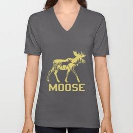 Moose Deer Reindeer Canadian Moose Elk Stag Antler Unisex V-Neck