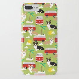 corgi welsh corgis hippie bus tropical beach surf life road trip corgi lover iPhone Case