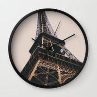 eiffel tower Wall Clocks featuring Eiffel Tower by Christine Workman