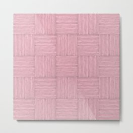 Pink Faux Bois Wood Pattern Metal Print