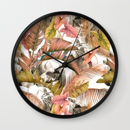 Flamingos in the pink jungle Wall Clock