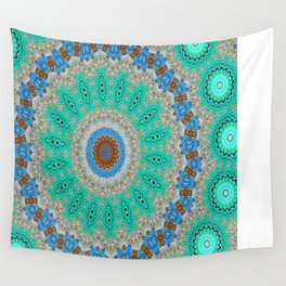 Lovely Healing Mandalas in Brilliant Colors: Blue, Brown, Teal, Silver and Gold Wall Tapestry