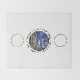 Times Square New York Triple Emblem (on white) Throw Blanket