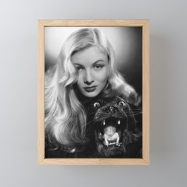 Veronica Lake black and white photography - black and white photographs Framed Mini Art Print