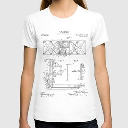 Wright Brother's Aircraft Patent - Aviation Art - Black And White T-shirt