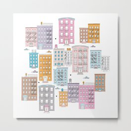 New York Brownstone Architecture - Pastel homes Metal Print