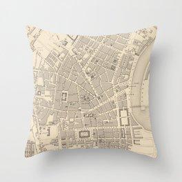 Vintage Map of Belfast Ireland (1851) Throw Pillow