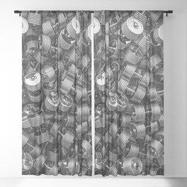 Chrome dumbbells Sheer Curtain