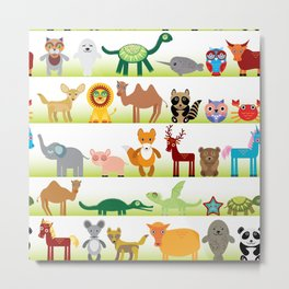 Set of funny cartoon animals character on white background Metal Print