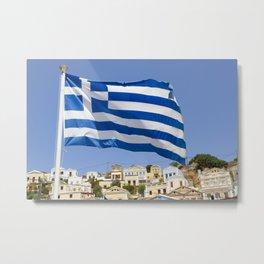 Greek flag Metal Print
