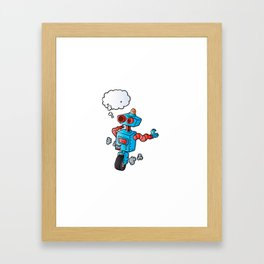 robot on wheel . Framed Art Print