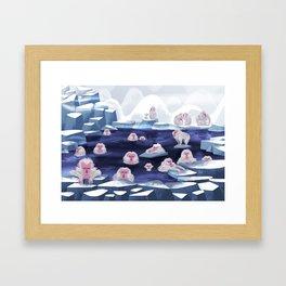 snow monkeys Framed Art Print