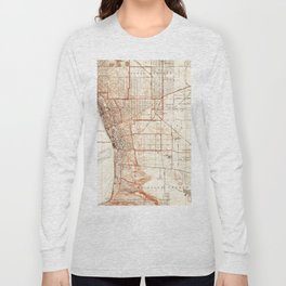 Vintage Map of Redondo Beach & Torrance CA (1934) Long Sleeve T-shirt