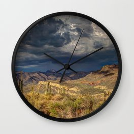Arid Cactus Cloud Formation Dark Wall Clock