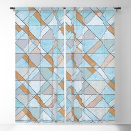 Shifting Pattern Turquoise and Gold Blackout Curtain