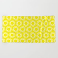 Sun Yellow Pattern- Beach Sun - Mix and Match with Simplicity of Life Beach Towel