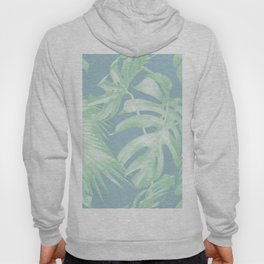 Tropical Leaves Luxe Pastel Sea Turquoise Blue Green Hoody