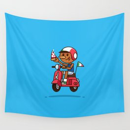 Italy! Pinocchio Eat Pizza and Ride Vespa Wall Tapestry