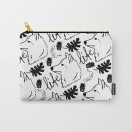 Black white hand drawn wolf floral typography Carry-All Pouch