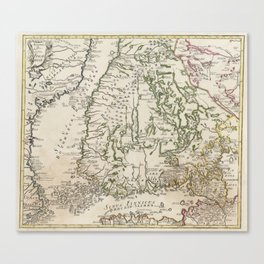 Vintage Map of Finland (1740s) Canvas Print