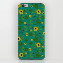 Sunflower & Monstera Leaf iPhone Skin