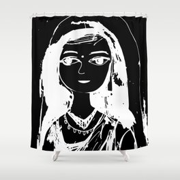 Indian girl black-white drawing Shower Curtain