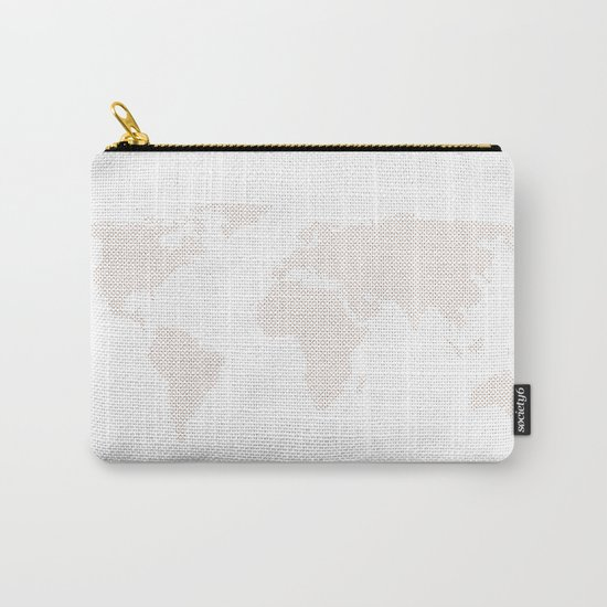 World Map Dots Rose Gold Bronze Copper Carry-All Pouch