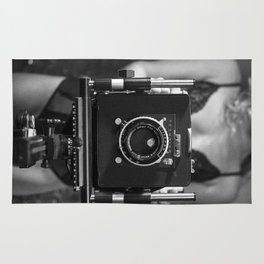 Woman in Lingerie with Vintage Antique Camera Rug