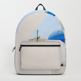 Blue Church Dome on Santorini Island Greece Oia Backpack