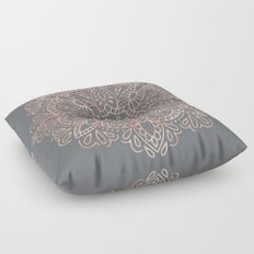 Mandala Rose Gold Pink Shimmer on Soft Gray Floor Pillow