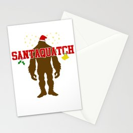 Santaquatch Bigfoot Silhouette Christmas Holiday T-Shirt Stationery Cards