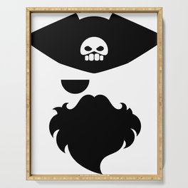 Pirate abstract drawing with skull on the hat Serving Tray