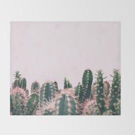 Pink Blush Cactus Throw Blanket