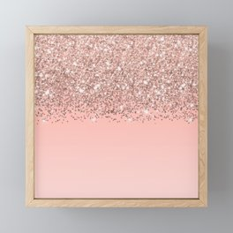 Girly Rose Gold Confetti Pink Gradient Ombre Framed Mini Art Print