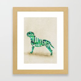Bullmastiff Typography Art / Watercolor Painting Framed Art Print