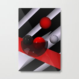 3D in red, white and black -04- Metal Print