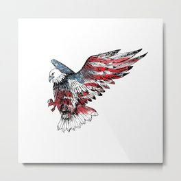 Watercolor bald eagle symbol of the United States Metal Print