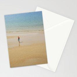 A Man on La Concha Beach in San Sebastian, Spain Stationery Cards