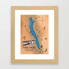 Thirlmere Reservoir Map Framed Art Print